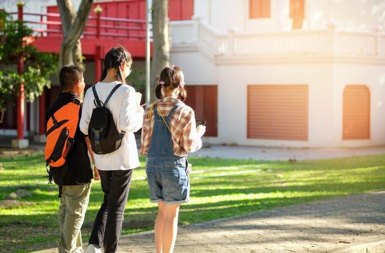 Asian students were walking to school.